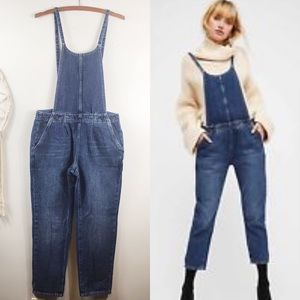 Free People Denim Overall Jumpsuit Cropped Leg